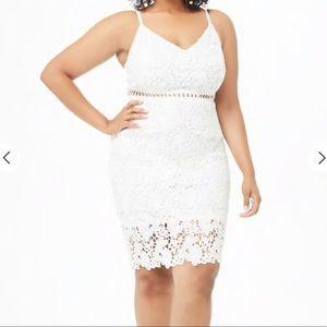 NWT Plus size floral crochet lace white dress